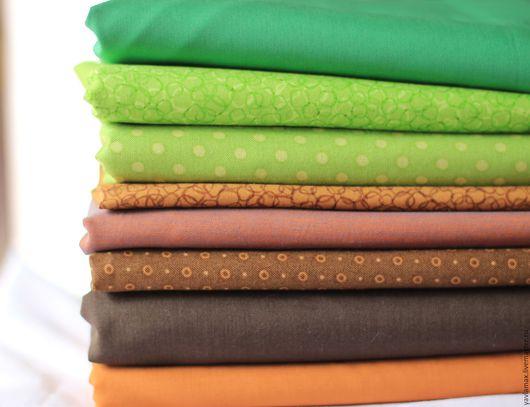 Шитье ручной работы. Ярмарка Мастеров - ручная работа. Купить Набор тканей Зеленый-Коричневый. Handmade. Ткань для рукоделия, ткань