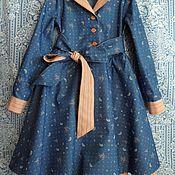 """Платья ручной работы. Ярмарка Мастеров - ручная работа Платье-рубашка синее для девочки """"ЛИРическое-Джинс"""". Handmade."""