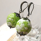 Украшения handmade. Livemaster - original item Earrings green berries. Ceramics. Handmade.