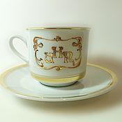 handmade. Livemaster - original item Decorative tea pair with the initials in the art Nouveau style.. Handmade.