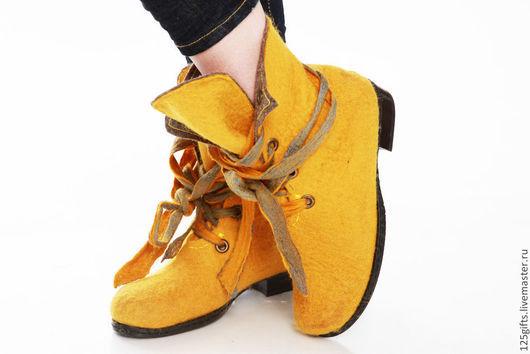 """Обувь ручной работы. Ярмарка Мастеров - ручная работа. Купить Ботинки валяные """"Желтые ботинки!!!"""". Handmade. Желтый, валяная обувь"""