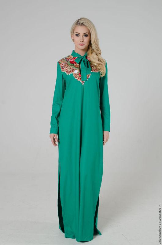 платье рубашка длинная в пол, платье рубашка декорированная павлопосадским платком, платье рубашка