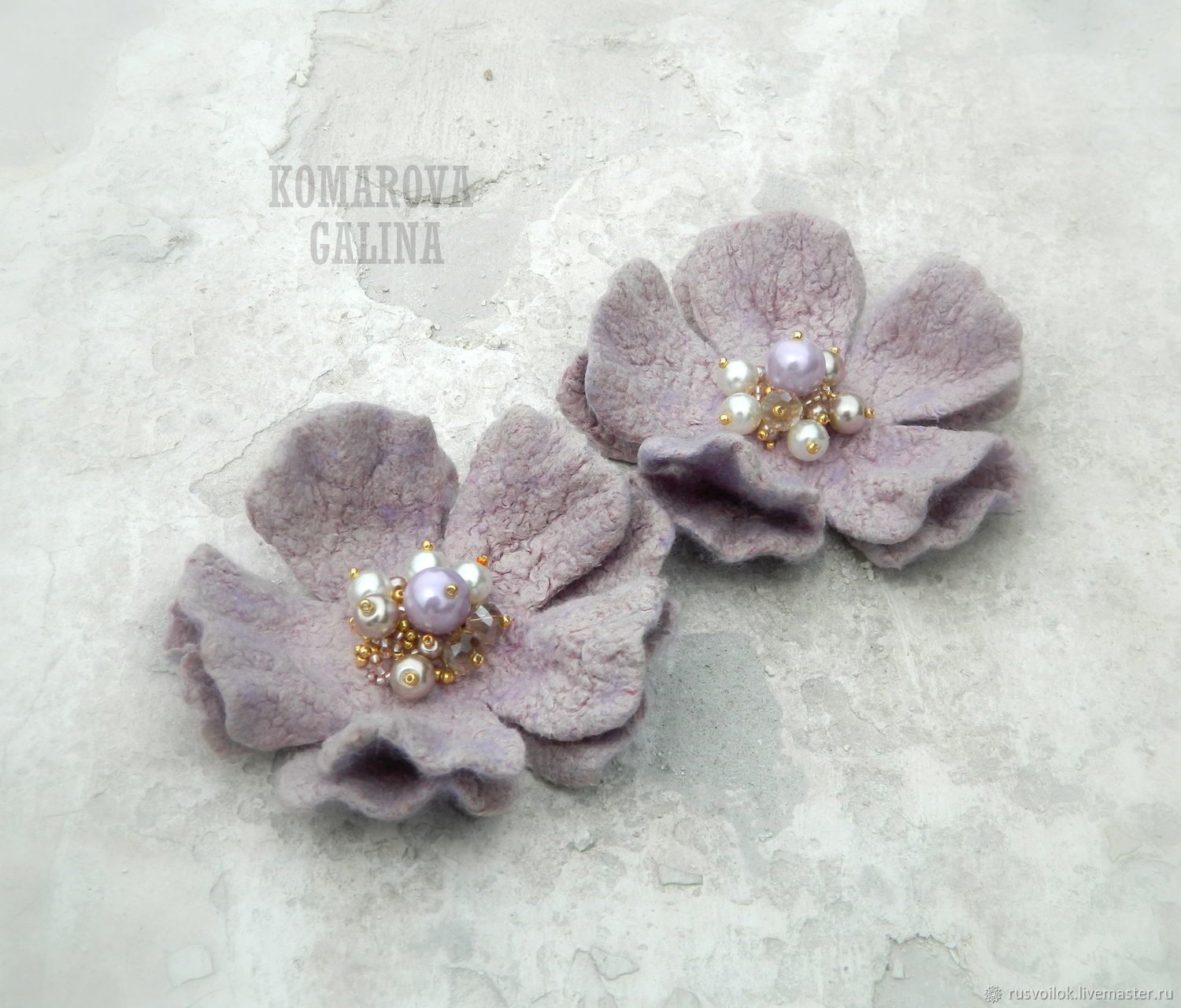 Brooch felted 'Lilac mystery', Brooches, Moscow,  Фото №1