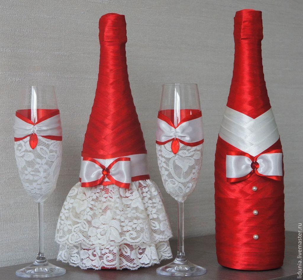 Свадебная бутылка своими руками из атласных лент