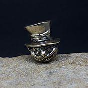 Материалы для творчества handmade. Livemaster - original item Cheshire Cat in a hat brass charm. Handmade.