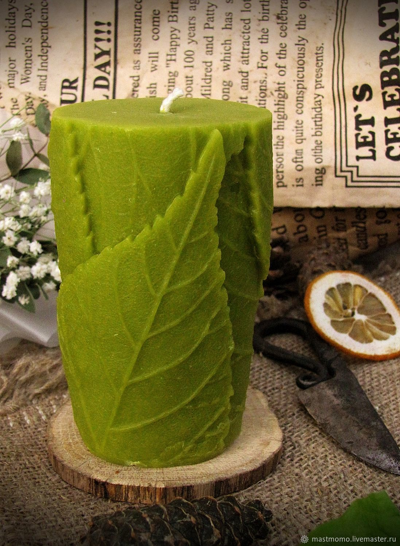 Handmade Candles handmade. Livemaster - handmade. Buy Candle 'Leaves'.Candles, candle wax, candle in gift