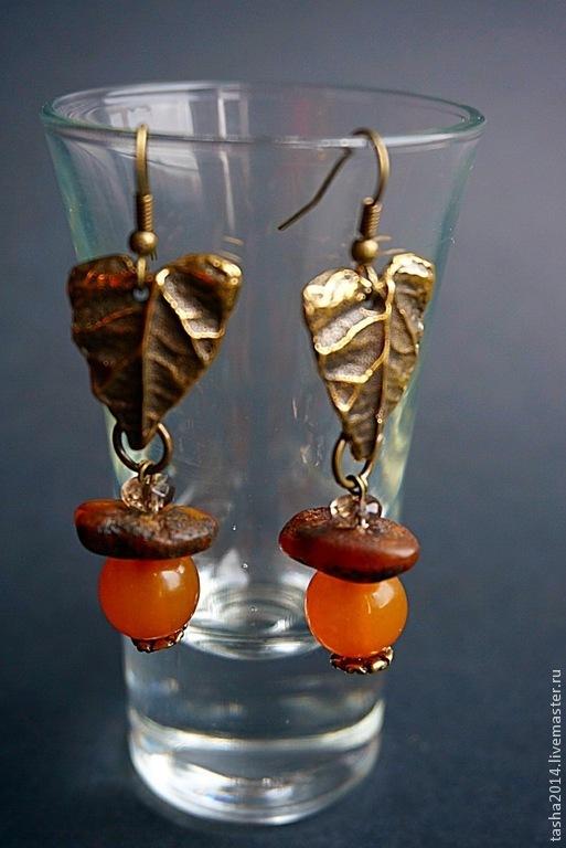 """Кулоны, подвески ручной работы. Ярмарка Мастеров - ручная работа. Купить Серьги """"Волшебный лес"""". Handmade. Оранжевый, янтарный кулон"""