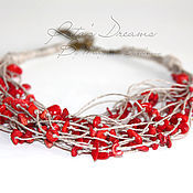 Украшения handmade. Livemaster - original item Short Coral beads strands, linen with coral red multi. Handmade.