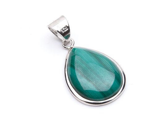 Изящная серебряная подвеска из натурального малахита в виде капли! Очень красивый и нежный цвет камня. Родиевое покрытие!