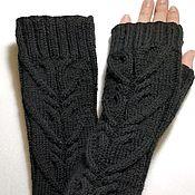 Аксессуары handmade. Livemaster - original item 39ZP fingerless long gloves, black. Handmade.