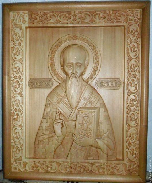 """Подарки для мужчин, ручной работы. Ярмарка Мастеров - ручная работа. Купить """"Святой Василтй"""". Handmade. Бежевый, икона в подарок"""