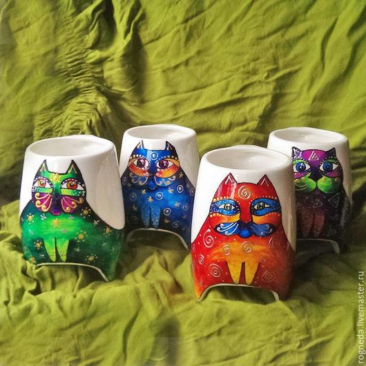"""Сервизы, чайные пары ручной работы. Ярмарка Мастеров - ручная работа. Купить Чайный набор """"Коты-самоцветы"""" чашки с ножками (0708). Handmade."""