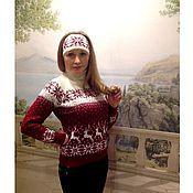 Одежда ручной работы. Ярмарка Мастеров - ручная работа Свитер с норвежским орнаментом и оленями Лесной олень. Handmade.