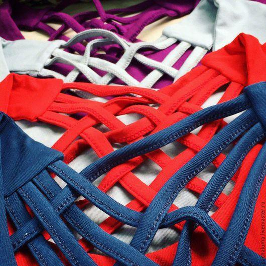 """Топы ручной работы. Ярмарка Мастеров - ручная работа. Купить Топ """"Риф"""". Handmade. Серый, фиолетовый, одежда для спорта"""