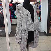 Одежда ручной работы. Ярмарка Мастеров - ручная работа кардиган бохо оверсайз листочки светло серый. Handmade.