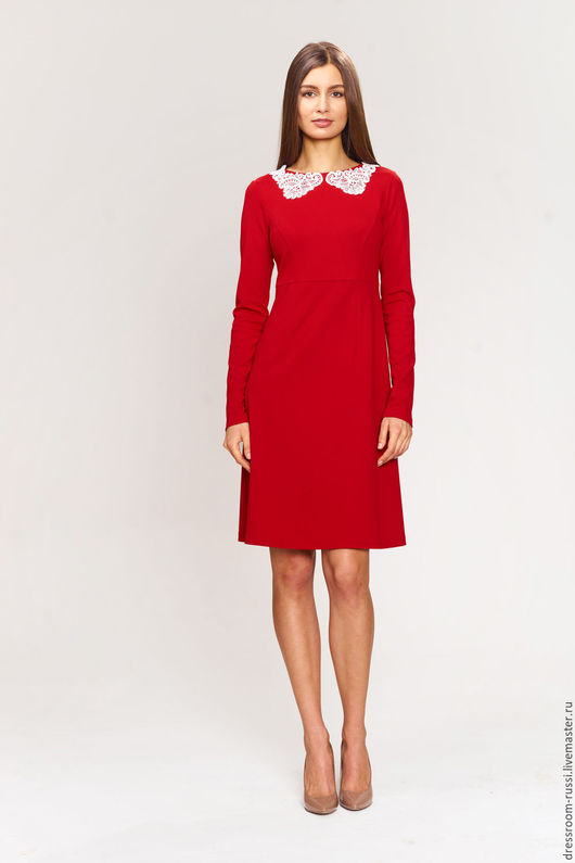 Платья ручной работы. Ярмарка Мастеров - ручная работа. Купить Платье красного цвета.. Handmade. Ярко-красный, женская одежда