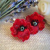 Украшения handmade. Livemaster - original item Earrings Scarlet Poppies . Glass lampwork . Silver. Handmade.