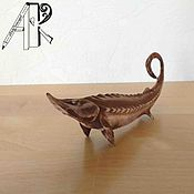 Для дома и интерьера handmade. Livemaster - original item Figurine of wood carved miniature Sturgeon. Christmas toy wooden. Handmade.