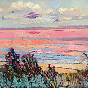 Картины и панно handmade. Livemaster - original item Pictures: Oil painting. Interior. UFO on the background of a pink lake. Handmade.