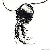 Украшения handmade. Livemaster - original item Soutache pendant, brooch pendant jewelry from the Black jade jellyfish. Handmade.