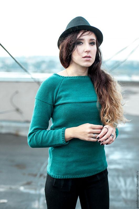Кофты и свитера ручной работы. Ярмарка Мастеров - ручная работа. Купить базовый свитер цвета морской волны. Handmade.