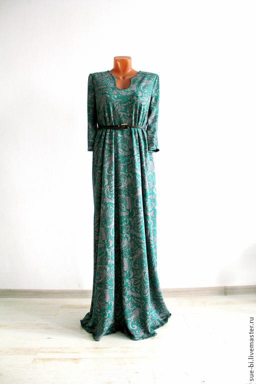 """Платья ручной работы. Ярмарка Мастеров - ручная работа. Купить Длинное зеленое платье с рукавом """"Анжелина"""". Handmade."""
