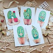 Открытки ручной работы. Ярмарка Мастеров - ручная работа Набор почтовых открыток с кактусами (5 шт). Handmade.