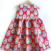 """Работы для детей, ручной работы. Ярмарка Мастеров - ручная работа Платье """"Матрёшки на красном"""". Handmade."""