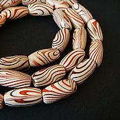 Материалы для творчества handmade. Livemaster - original item Beads art wood red stripe 14mm. Handmade.