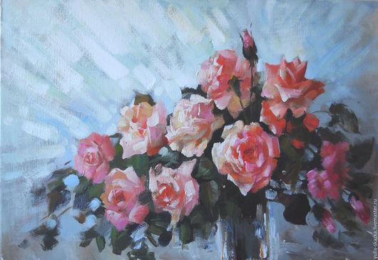 """Картины цветов ручной работы. Ярмарка Мастеров - ручная работа. Купить картина  """"Розы"""". Handmade. Разноцветный, розы, букет роз"""
