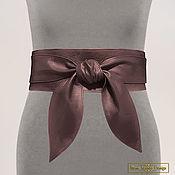 Аксессуары handmade. Livemaster - original item Obi belt made of natural mother-of-pearl leather (brown). Handmade.