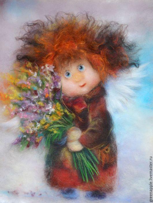 """Фэнтези ручной работы. Ярмарка Мастеров - ручная работа. Купить """"Ангел с букетом"""". Handmade. Комбинированный, живопись шерстью, букет цветов"""