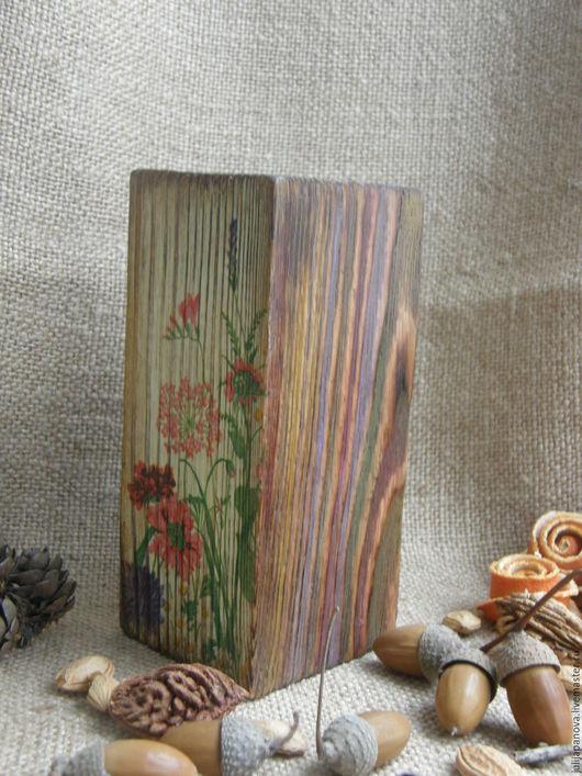 Подсвечник из массива сосны `Полевые цветы`