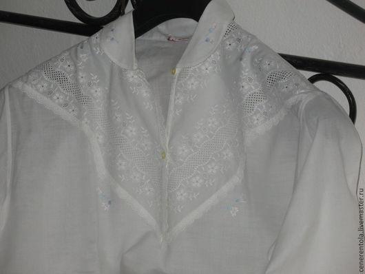 Одежда. Ярмарка Мастеров - ручная работа. Купить винтажная  ночная сорочка с шитьём и вышивкой. Handmade. Хлопок, ночная сорочка с шитьём