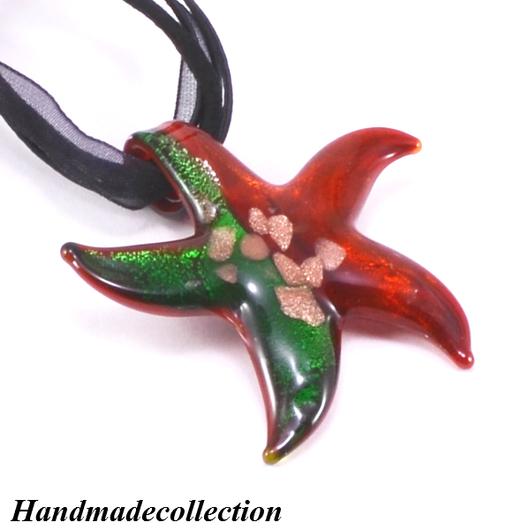 """Кулоны, подвески ручной работы. Ярмарка Мастеров - ручная работа. Купить Кулон из стекла в муранском стиле """"Звезда зелено-красная"""". Handmade."""