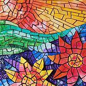 Картины и панно ручной работы. Ярмарка Мастеров - ручная работа Объёмная бумажная мозаика «Цветы заката». Handmade.
