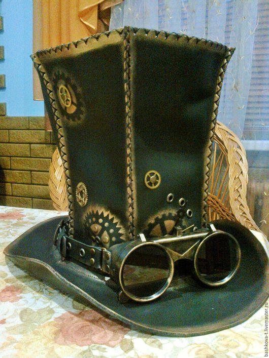 Шляпы ручной работы. Ярмарка Мастеров - ручная работа. Купить Цилиндр и гогглы в стиле стимпанк. Handmade. Черный, акриловые краски