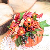 Цветы и флористика handmade. Livemaster - original item Pumpkin with flowers (all handmade!!). Handmade.