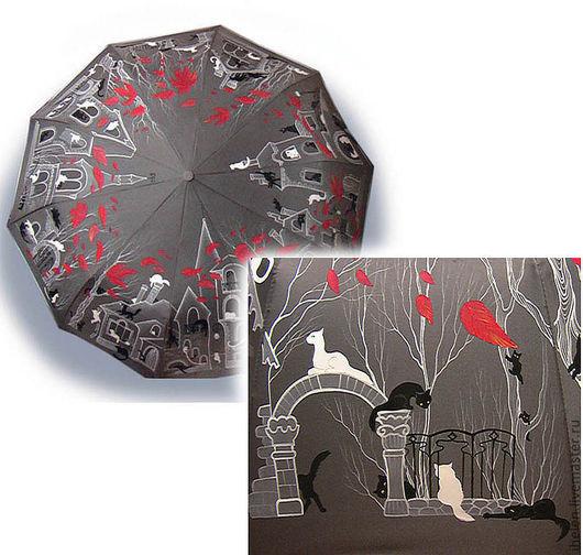 Зонты ручной работы. Ярмарка Мастеров - ручная работа. Купить Зонт Дня Кошек. Handmade. Серый, КРАСНОЕ И СЕРОЕ