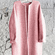 Одежда ручной работы. Ярмарка Мастеров - ручная работа Пальто Оверсайз Вязаное Норка (Розовый цвет). Handmade.