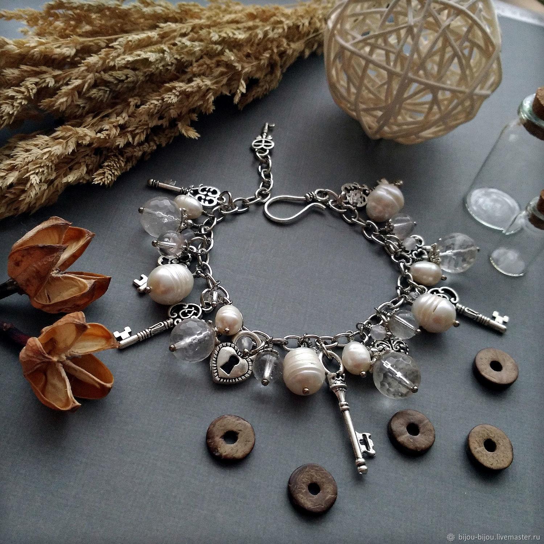 Bracelet gift girl with natural pearls and crystal Keys, Bead bracelet, Tyumen,  Фото №1
