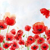 Картины и панно handmade. Livemaster - original item Painting Poppies flowers for interior living room bedroom red white scarlet. Handmade.