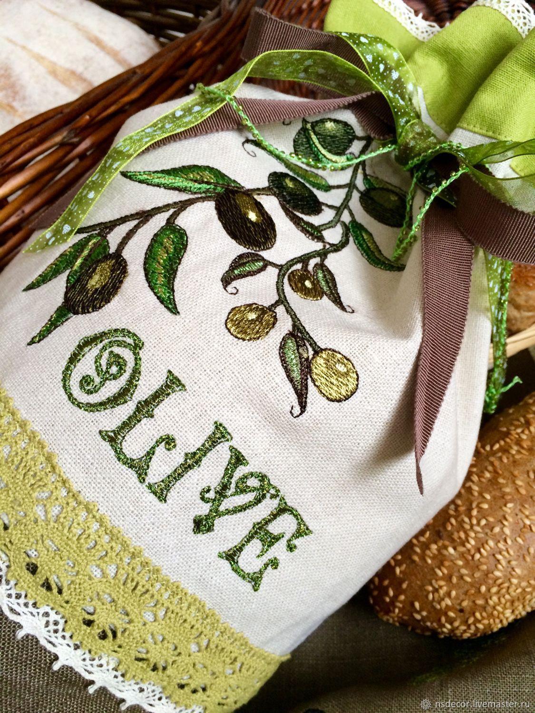 """Кухня ручной работы. Ярмарка Мастеров - ручная работа. Купить Комплект льняной для хлеба """" Olive"""". Handmade. Машинная вышивка"""