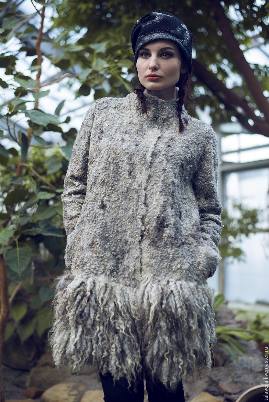 """Верхняя одежда ручной работы. Ярмарка Мастеров - ручная работа. Купить """"Валькирия"""" - пальто валяное. Handmade. Серый, пальто каракуль"""