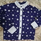 Рубашки ручной работы. Ярмарка Мастеров - ручная работа Стильная рубашка для мальчика Звезды на синем. Handmade.