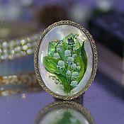 Украшения handmade. Livemaster - original item Lily of the valley brooch painted on mother of pearl. Handmade.