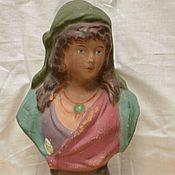 Винтаж handmade. Livemaster - original item Bust girl figurine clay majolica early 20th century. Handmade.