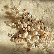 Украшения handmade. Livemaster - original item Branch on the Hoop made of shells and pearls