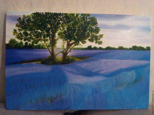 """Пейзаж ручной работы. Ярмарка Мастеров - ручная работа. Купить Картина маслом """"Лавандовый рай"""". Handmade. Сиреневый, лаванда, деревья"""
