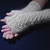 Аксессуары handmade. Livemaster - original item Women`s knitted fingerless gloves Figure on the glass. Handmade.